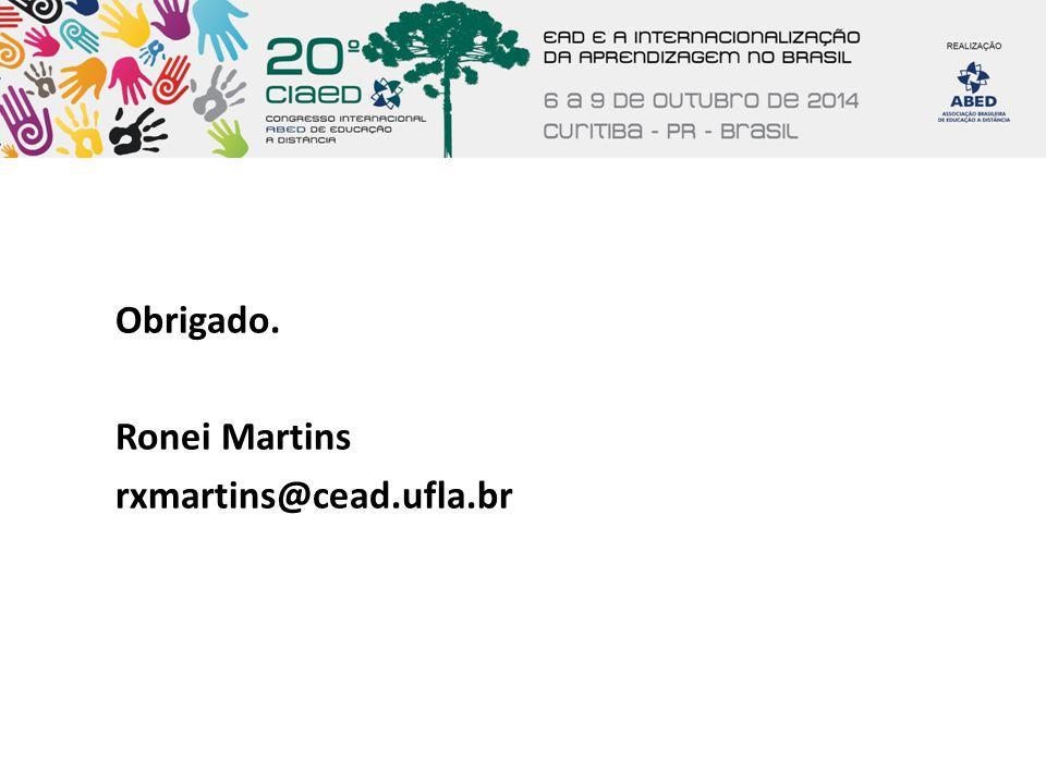 Obrigado. Ronei Martins rxmartins@cead.ufla.br