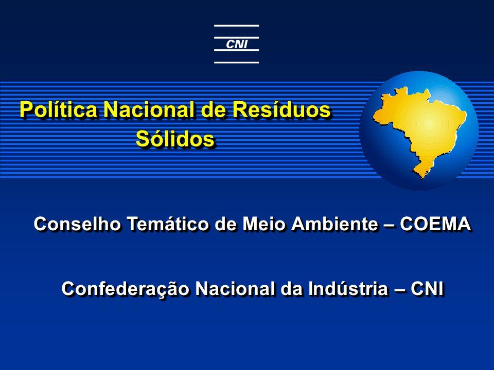 Conselho Temático de Meio Ambiente – COEMA Confederação Nacional da Indústria – CNI Conselho Temático de Meio Ambiente – COEMA Confederação Nacional da Indústria – CNI Política Nacional de Resíduos Sólidos