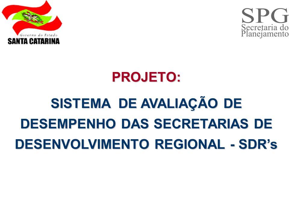 PROJETO: SISTEMA DE AVALIAÇÃO DE DESEMPENHO DAS SECRETARIAS DE DESENVOLVIMENTO REGIONAL - SDR's