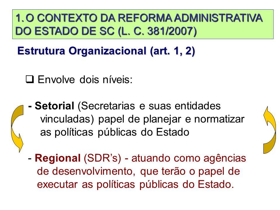 Lei Complementar n. 381/2007 Estrutura Organizacional (art.