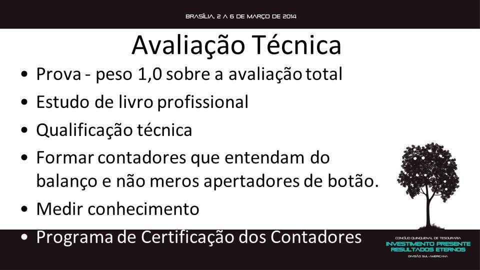 Avaliação Técnica Prova - peso 1,0 sobre a avaliação total Estudo de livro profissional Qualificação técnica Formar contadores que entendam do balanço e não meros apertadores de botão.