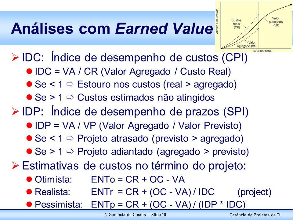 Gerência de Projetos de TI 7. Gerência de Custos – Slide 10 Análises com Earned Value  IDC:Índice de desempenho de custos (CPI) IDC = VA / CR (Valor