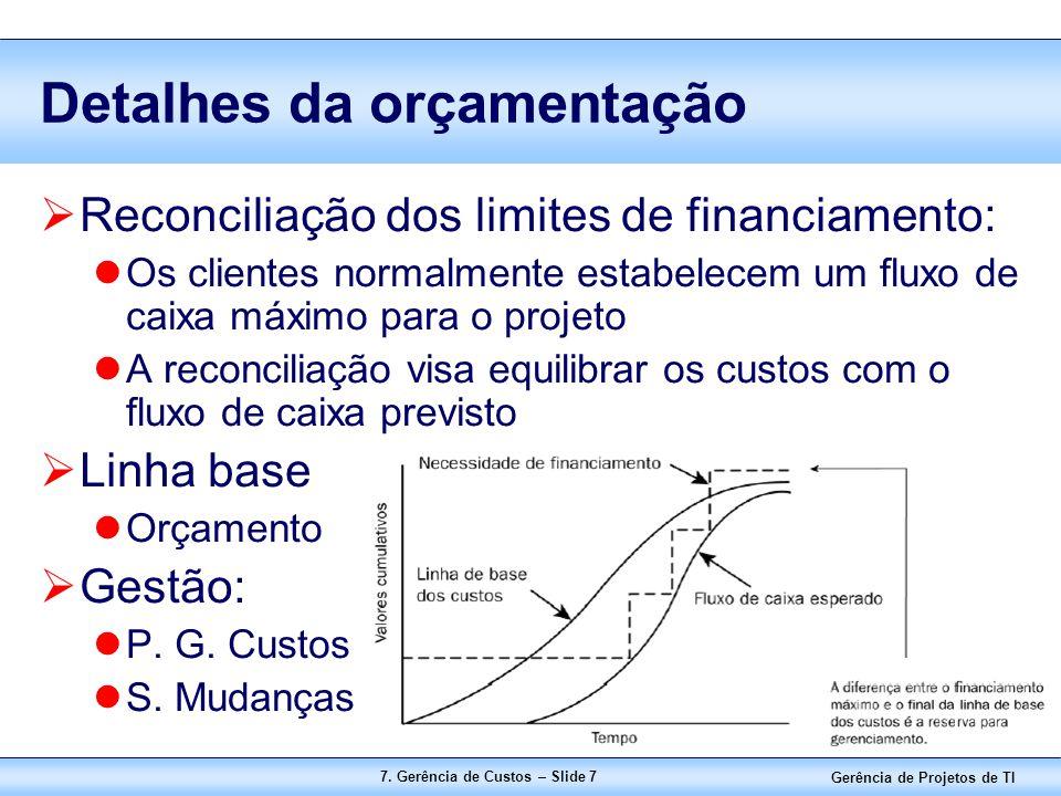 Gerência de Projetos de TI 7. Gerência de Custos – Slide 7 Detalhes da orçamentação  Reconciliação dos limites de financiamento: Os clientes normalme