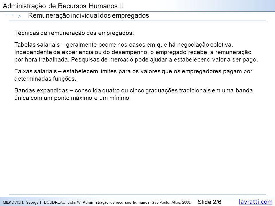 lavratti.com Slide 2/6 Administração de Recursos Humanos II Remuneração individual dos empregados Técnicas de remuneração dos empregados: Tabelas sala