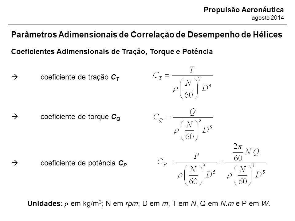 Propulsão Aeronáutica agosto 2014 Parâmetros Adimensionais de Correlação de Desempenho de Hélices Coeficientes Adimensionais de Tração, Torque e Potên