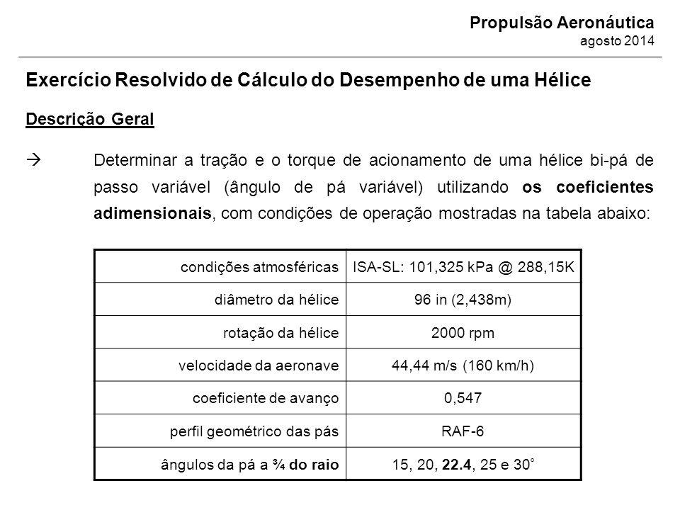 Propulsão Aeronáutica agosto 2014 Descrição Geral Exercício Resolvido de Cálculo do Desempenho de uma Hélice  Determinar a tração e o torque de acion