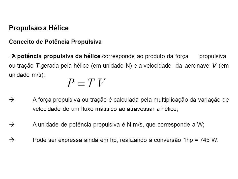 Conceito de Eficiência Propulsiva Propulsão a Hélice  A eficiência propulsiva da hélice ou simplesmente eficiência da hélice, é calculada pela razão entre a potência propulsiva e a potência de eixo entregue a hélice pelo motor:  Para o caso de uma aeronave parada com o motor totalmente acelerado (máxima rotação), a potência de eixo disponibilizada pelo motor poderá ser máxima; a tração gerada pela hélice é máxima; entretanto a potência propulsiva será nula (velocidade da aeronave nula), conseqüentemente a eficiência propulsiva será nula.