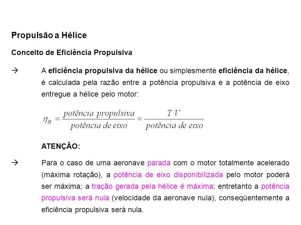 Conceito de Eficiência Propulsiva Propulsão a Hélice  A eficiência propulsiva da hélice ou simplesmente eficiência da hélice, é calculada pela razão