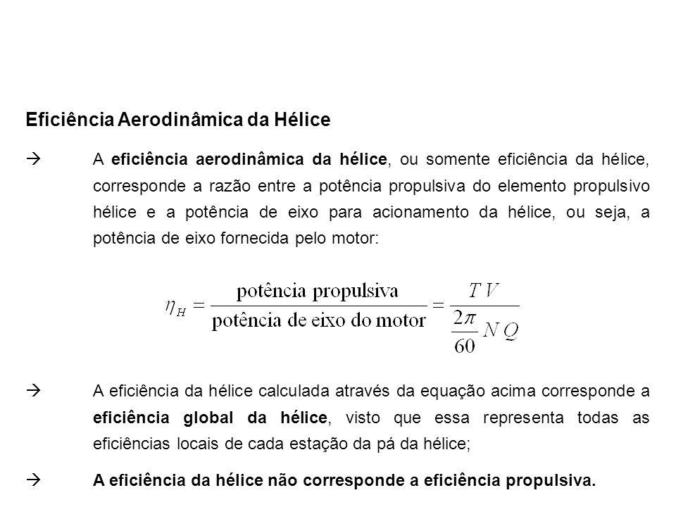 Eficiência Aerodinâmica da Hélice  A eficiência aerodinâmica da hélice, ou somente eficiência da hélice, corresponde a razão entre a potência propuls