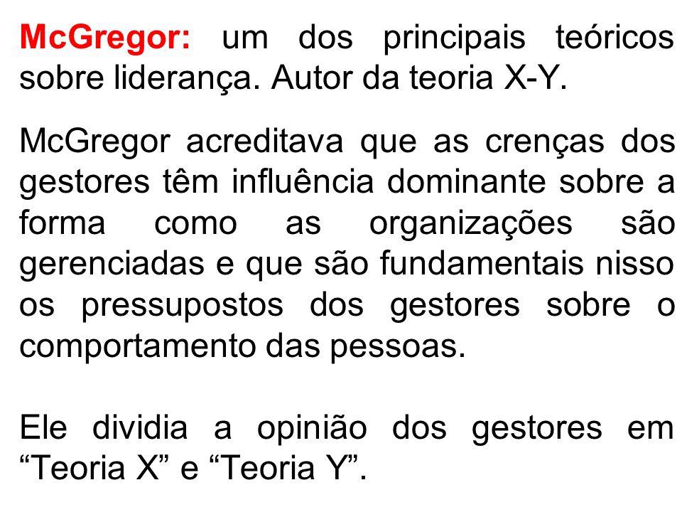 McGregor: um dos principais teóricos sobre liderança. Autor da teoria X-Y. McGregor acreditava que as crenças dos gestores têm influência dominante so