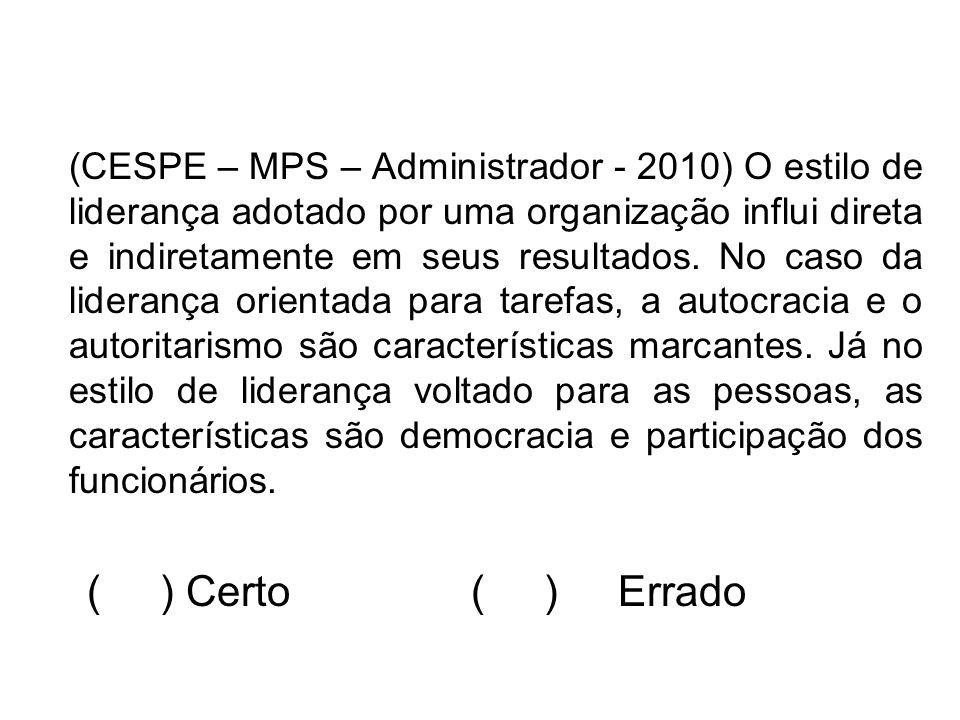 (CESPE – MPS – Administrador - 2010) O estilo de liderança adotado por uma organização influi direta e indiretamente em seus resultados. No caso da li