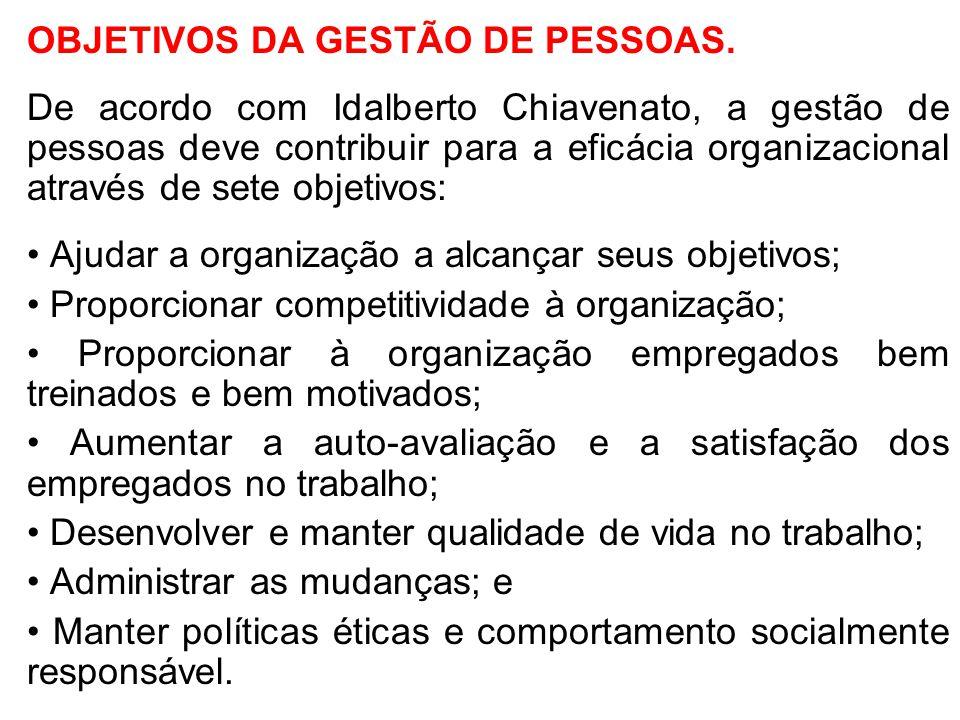 OBJETIVOS DA GESTÃO DE PESSOAS. De acordo com Idalberto Chiavenato, a gestão de pessoas deve contribuir para a eficácia organizacional através de sete
