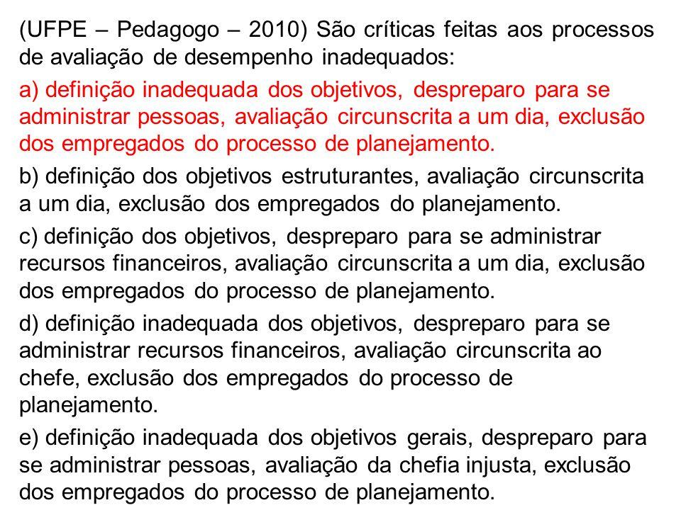 (UFPE – Pedagogo – 2010) São críticas feitas aos processos de avaliação de desempenho inadequados: a) definição inadequada dos objetivos, despreparo p
