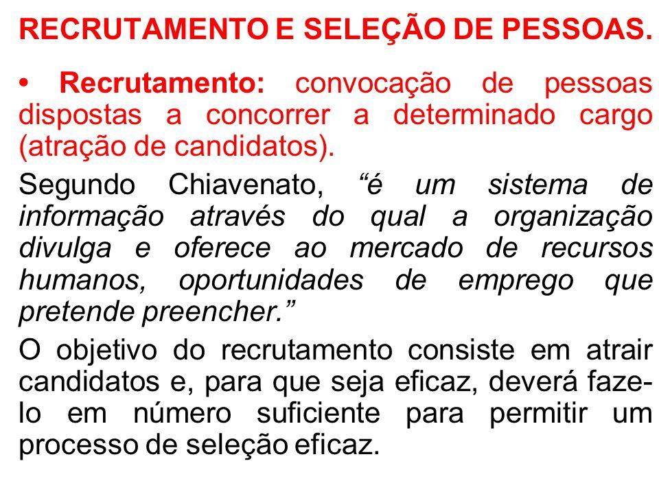 RECRUTAMENTO E SELEÇÃO DE PESSOAS. Recrutamento: convocação de pessoas dispostas a concorrer a determinado cargo (atração de candidatos). Segundo Chia