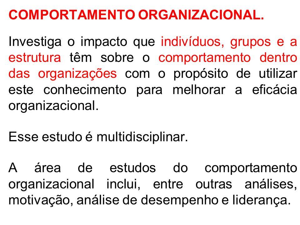 COMPORTAMENTO ORGANIZACIONAL. Investiga o impacto que indivíduos, grupos e a estrutura têm sobre o comportamento dentro das organizações com o propósi