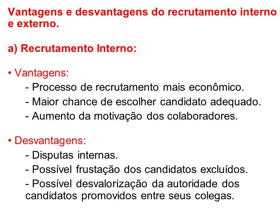 Vantagens e desvantagens do recrutamento interno e externo. a) Recrutamento Interno: Vantagens: - Processo de recrutamento mais econômico. - Maior cha