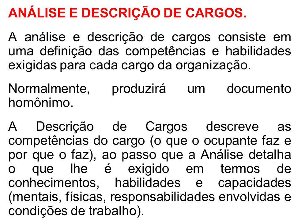 ANÁLISE E DESCRIÇÃO DE CARGOS. A análise e descrição de cargos consiste em uma definição das competências e habilidades exigidas para cada cargo da or