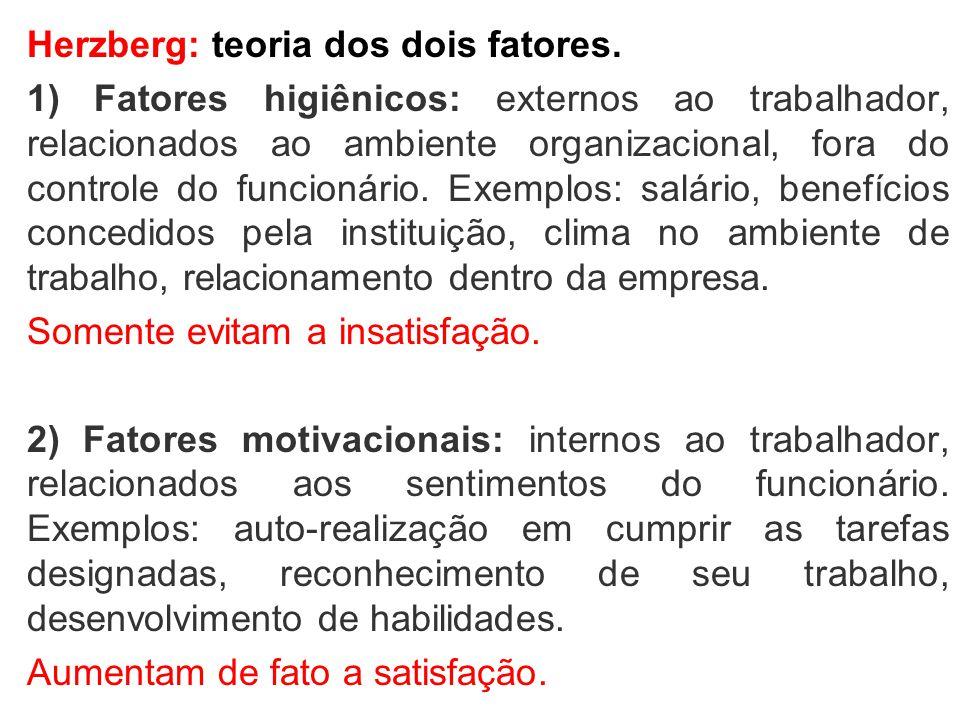 Herzberg: teoria dos dois fatores. 1) Fatores higiênicos: externos ao trabalhador, relacionados ao ambiente organizacional, fora do controle do funcio