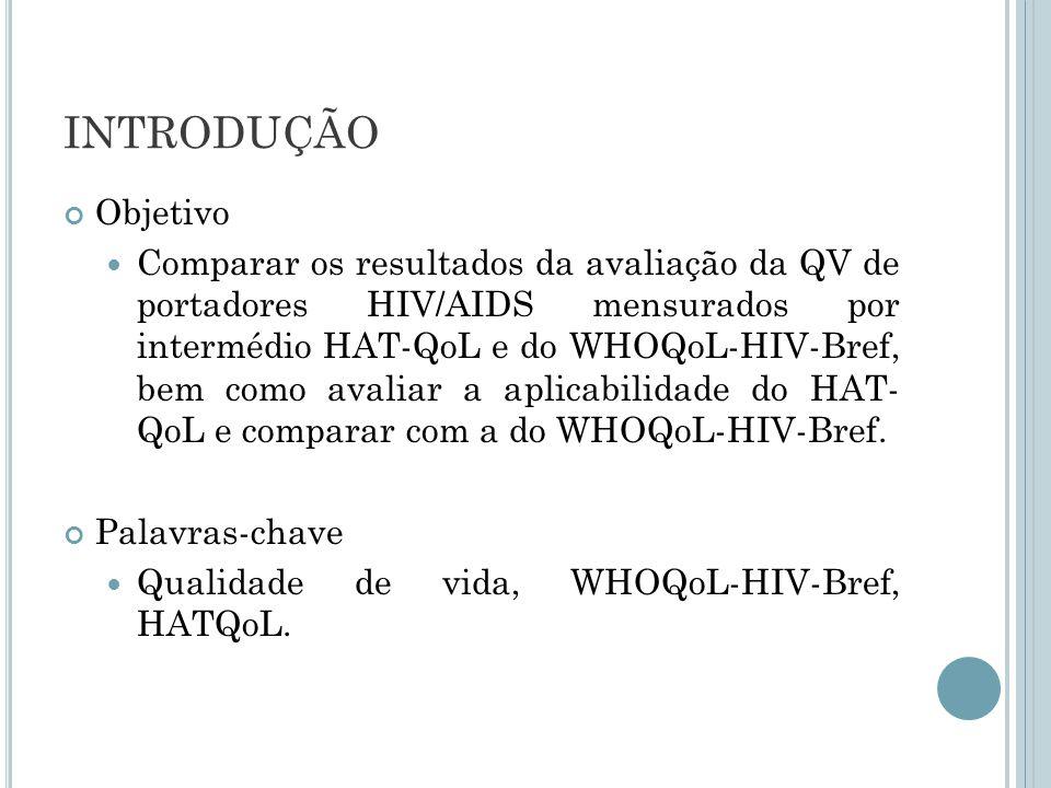 INTRODUÇÃO Objetivo Comparar os resultados da avaliação da QV de portadores HIV/AIDS mensurados por intermédio HAT-QoL e do WHOQoL-HIV-Bref, bem como