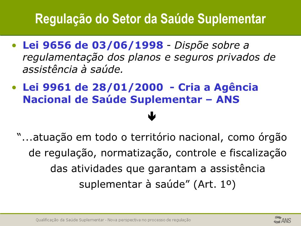 Qualificação da Saúde Suplementar - Nova perspectiva no processo de regulação Regulação do Setor da Saúde Suplementar Lei 9656 de 03/06/1998 - Dispõe