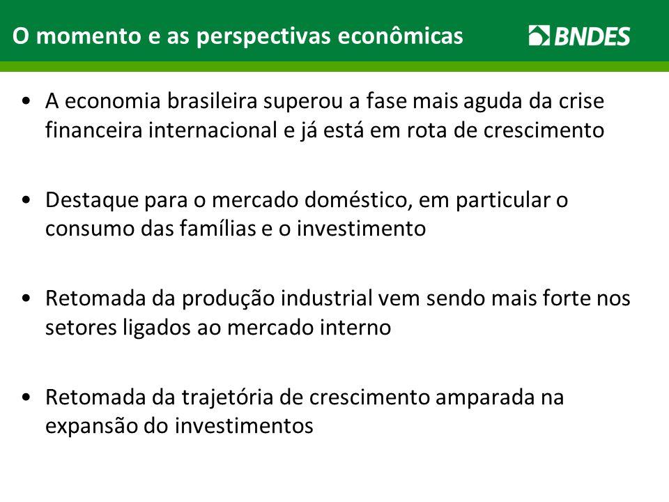 O momento e as perspectivas econômicas A economia brasileira superou a fase mais aguda da crise financeira internacional e já está em rota de crescime