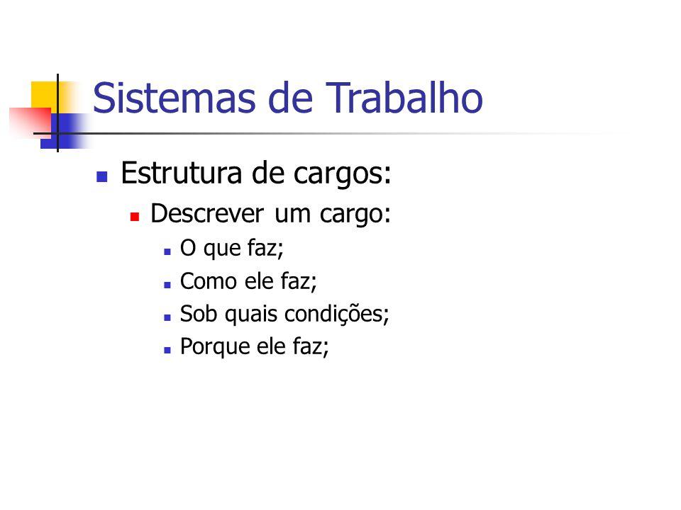 Sistemas de Trabalho Estrutura de cargos: Descrever um cargo: O que faz; Como ele faz; Sob quais condições; Porque ele faz;