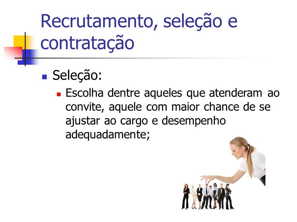 Seleção: Escolha dentre aqueles que atenderam ao convite, aquele com maior chance de se ajustar ao cargo e desempenho adequadamente;