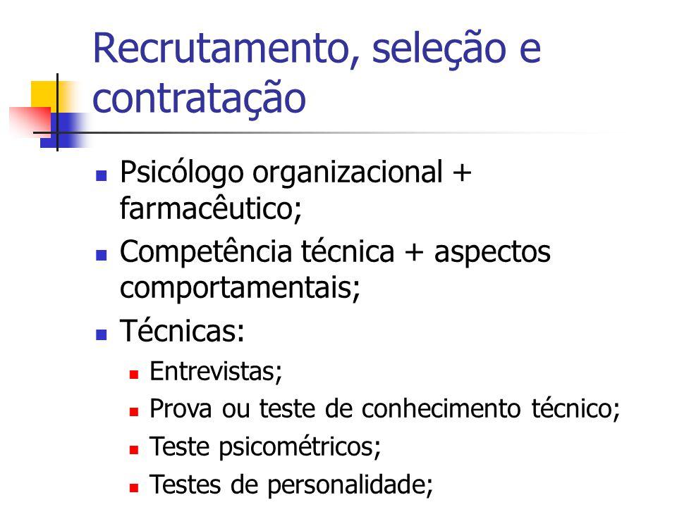 Recrutamento, seleção e contratação Psicólogo organizacional + farmacêutico; Competência técnica + aspectos comportamentais; Técnicas: Entrevistas; Pr