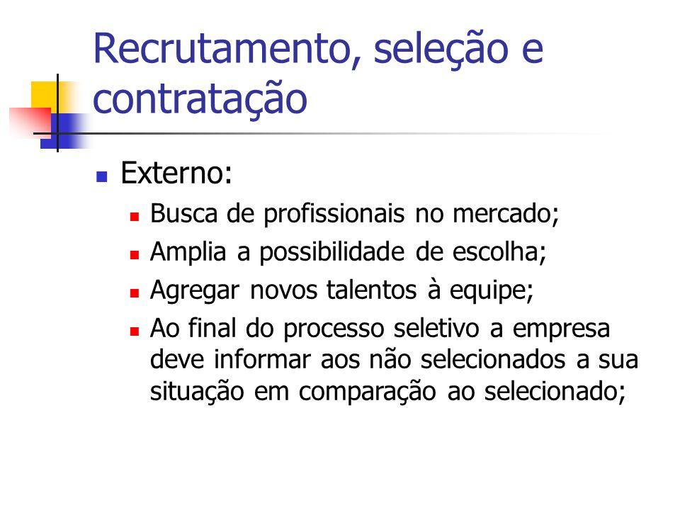 Recrutamento, seleção e contratação Externo: Busca de profissionais no mercado; Amplia a possibilidade de escolha; Agregar novos talentos à equipe; Ao