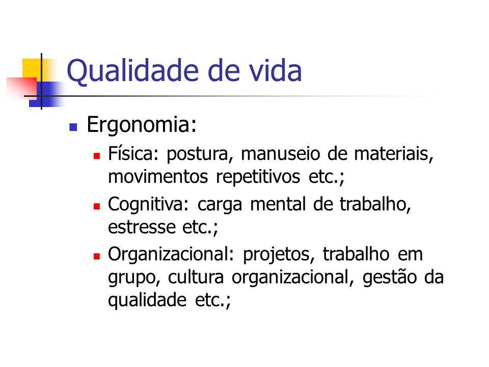 Qualidade de vida Ergonomia: Física: postura, manuseio de materiais, movimentos repetitivos etc.; Cognitiva: carga mental de trabalho, estresse etc.;