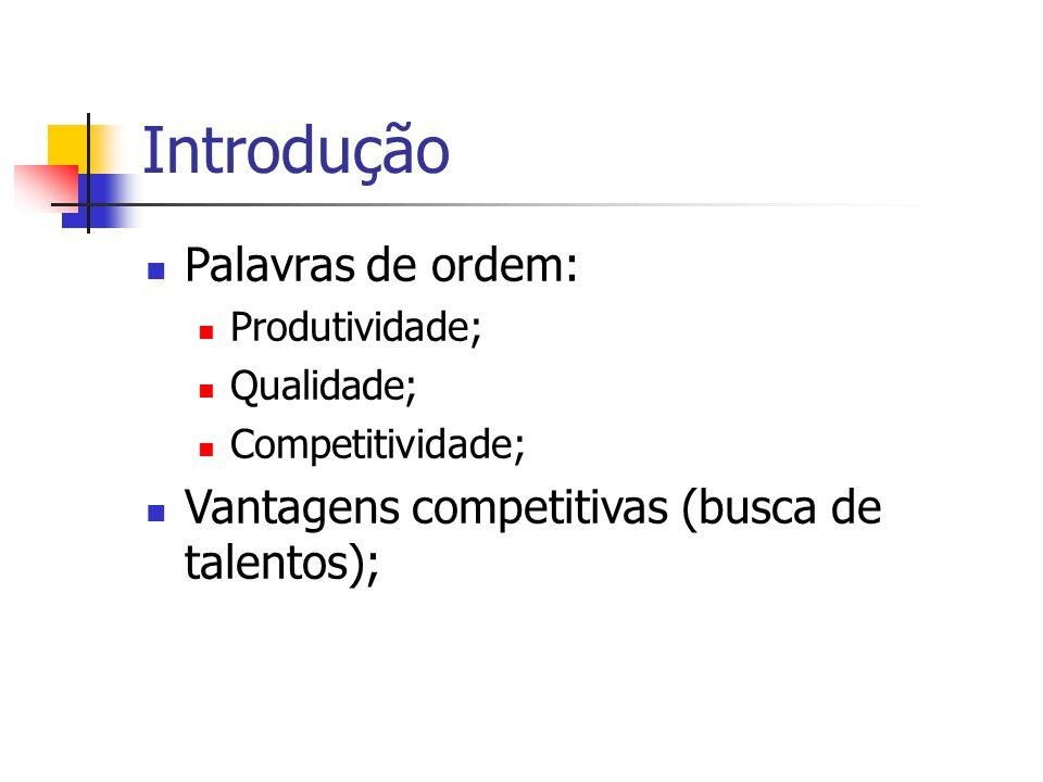 Introdução Palavras de ordem: Produtividade; Qualidade; Competitividade; Vantagens competitivas (busca de talentos);