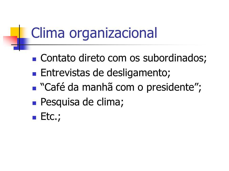 """Clima organizacional Contato direto com os subordinados; Entrevistas de desligamento; """"Café da manhã com o presidente""""; Pesquisa de clima; Etc.;"""