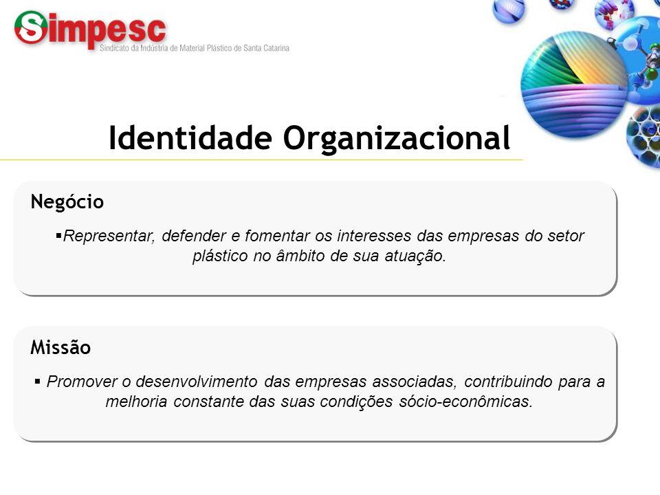 Fone: (47) 433.2351 – www.simpesc.org.br Identidade Organizacional Negócio  Representar, defender e fomentar os interesses das empresas do setor plás