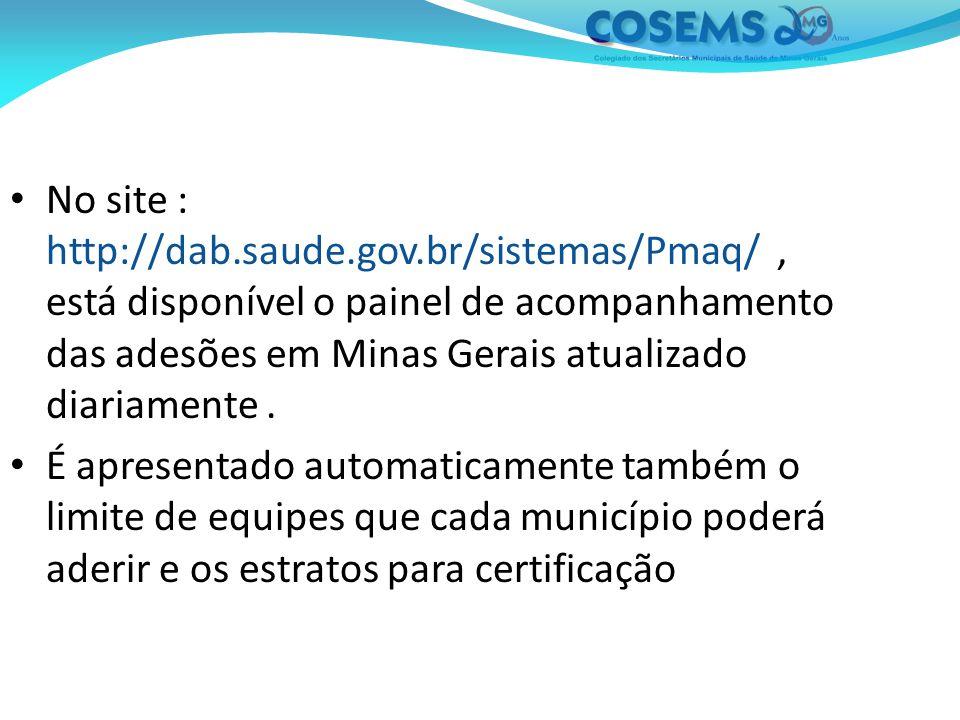 No site : http://dab.saude.gov.br/sistemas/Pmaq/, está disponível o painel de acompanhamento das adesões em Minas Gerais atualizado diariamente.