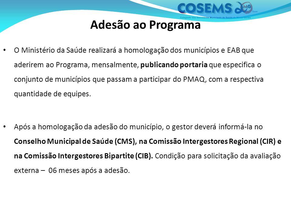 Adesão ao Programa O Ministério da Saúde realizará a homologação dos municípios e EAB que aderirem ao Programa, mensalmente, publicando portaria que especifica o conjunto de municípios que passam a participar do PMAQ, com a respectiva quantidade de equipes.