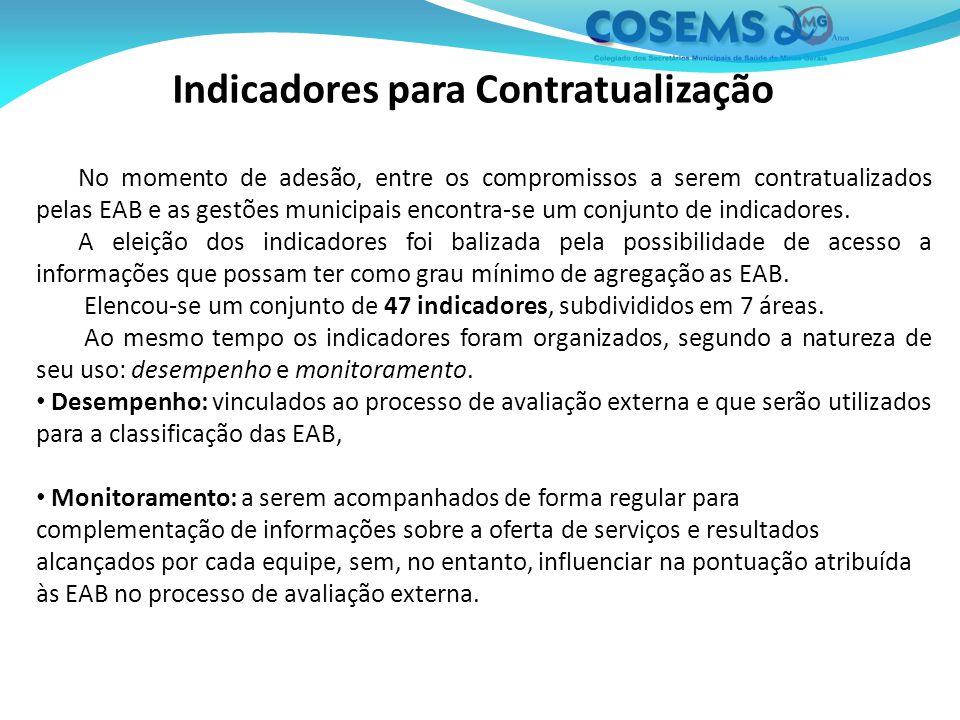 Indicadores para Contratualização No momento de adesão, entre os compromissos a serem contratualizados pelas EAB e as gestões municipais encontra-se um conjunto de indicadores.