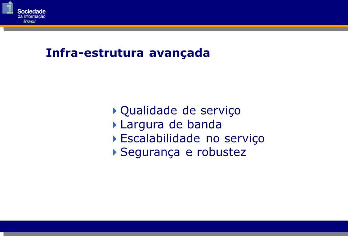  Qualidade de serviço Qualidade de serviço  Largura de banda Largura de banda  Escalabilidade no serviço Escalabilidade no serviço  Segurança e ro