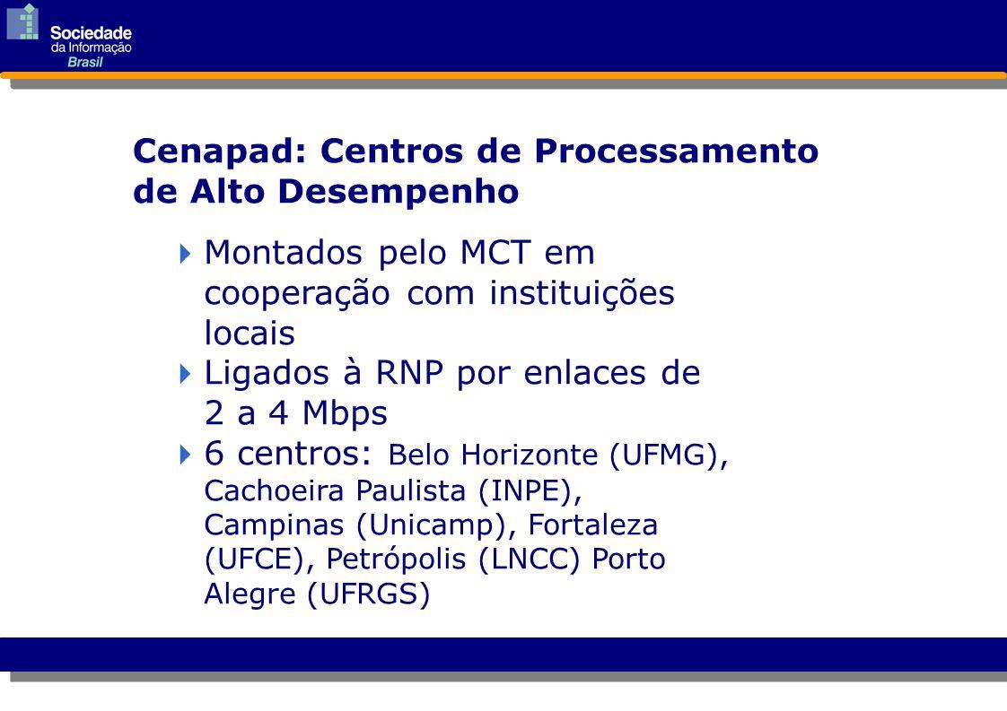  Montados pelo MCT em cooperação com instituições locais Montados pelo MCT em cooperação com instituições locais  Ligados à RNP por enlaces de 2 a 4