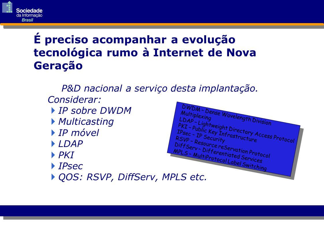 P&D nacional a serviço desta implantação. Considerar:  IP sobre DWDM IP sobre DWDM  Multicasting Multicasting  IP móvel IP móvel  LDAP LDAP  PKI