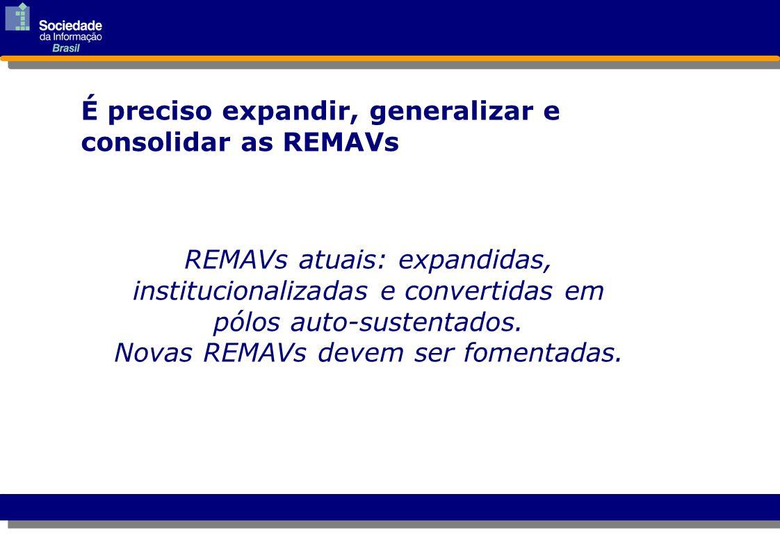 REMAVs atuais: expandidas, institucionalizadas e convertidas em pólos auto-sustentados. Novas REMAVs devem ser fomentadas. É preciso expandir, general