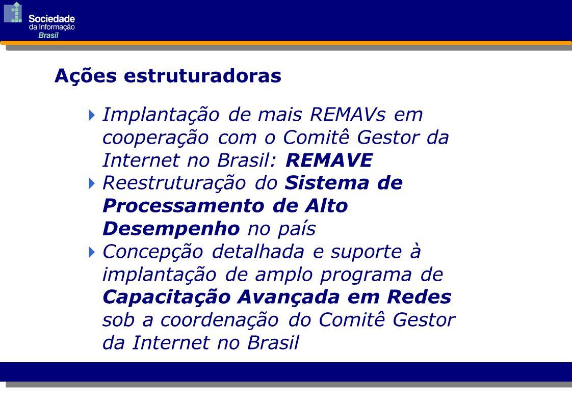 Ações estruturadoras  Implantação de mais REMAVs em cooperação com o Comitê Gestor da Internet no Brasil: REMAVE Implantação de mais REMAVs em cooper