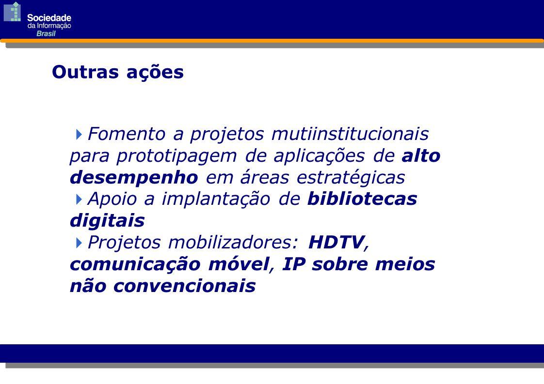 Outras ações  Fomento a projetos mutiinstitucionais para prototipagem de aplicações de alto desempenho em áreas estratégicas Fomento a projetos mutii