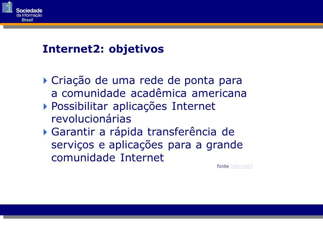 Internet2: objetivos  Criação de uma rede de ponta para a comunidade acadêmica americana Criação de uma rede de ponta para a comunidade acadêmica ame
