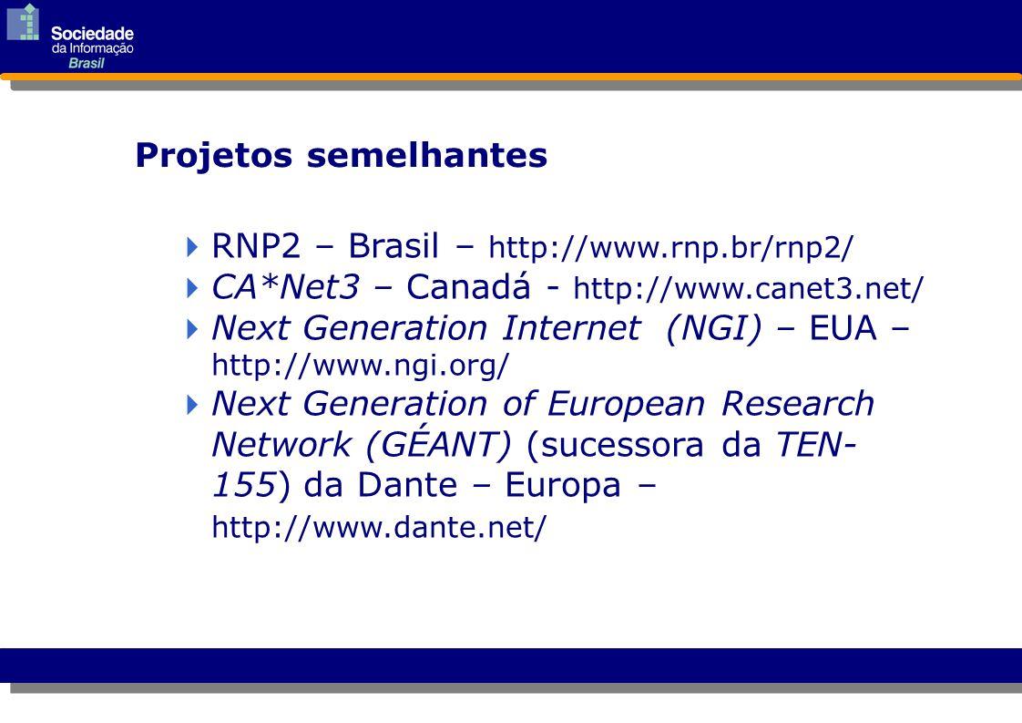 Americas CANARIE (Canada) CUDI (Mexico) Fundacion Internet2 Argentina REUNA (Chile) RNP2 (Brazil) Asia-Pacific AAIREP (Australia) APAN (Asia-Pacific) APAN-KR (Korea) CERNET, CSTNET, NSFCNET (China) JAIRC (Japan) JUCC (Hong Kong) SingAREN (Singapore) TAnet2 (Taiwan) Iniciativas mundiais afins Europe / Middle East ARNES (Slovenia) BELNET (Belgium) CESnet (Czech Republic) DANTE (Europe) DFN-Verein (Germany) GIP RENATER (France) GRNET (Greece) HEAnet (Ireland) HUNGARNET (Hungary) INFN-GARR (Italy) Israel-IUCC (Israel) NORDUnet (Nordic Countries) POL-34 (Poland) RCCN (Portugal) RedIRIS (Spain) RESTENA (Luxembourg) Stichting SURF (Netherlands) SWITCH (Switzerland) TERENA (Europe) JISC, UKERNA (United Kingdom) fonte Internet2