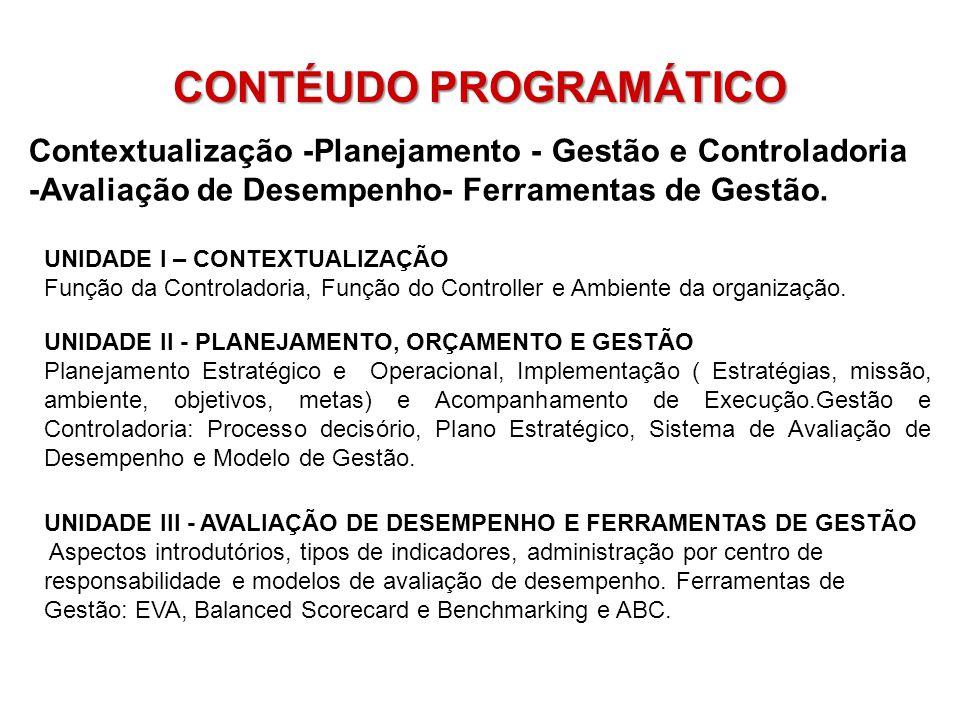 CONTÉUDO PROGRAMÁTICO Contextualização -Planejamento - Gestão e Controladoria -Avaliação de Desempenho- Ferramentas de Gestão. UNIDADE I – CONTEXTUALI
