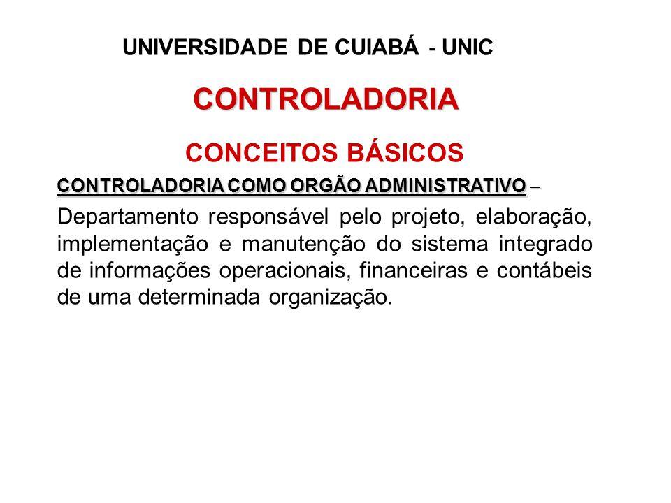 CONTROLADORIA CONCEITOS BÁSICOS CONTROLADORIA COMO ORGÃO ADMINISTRATIVO – Departamento responsável pelo projeto, elaboração, implementação e manutençã