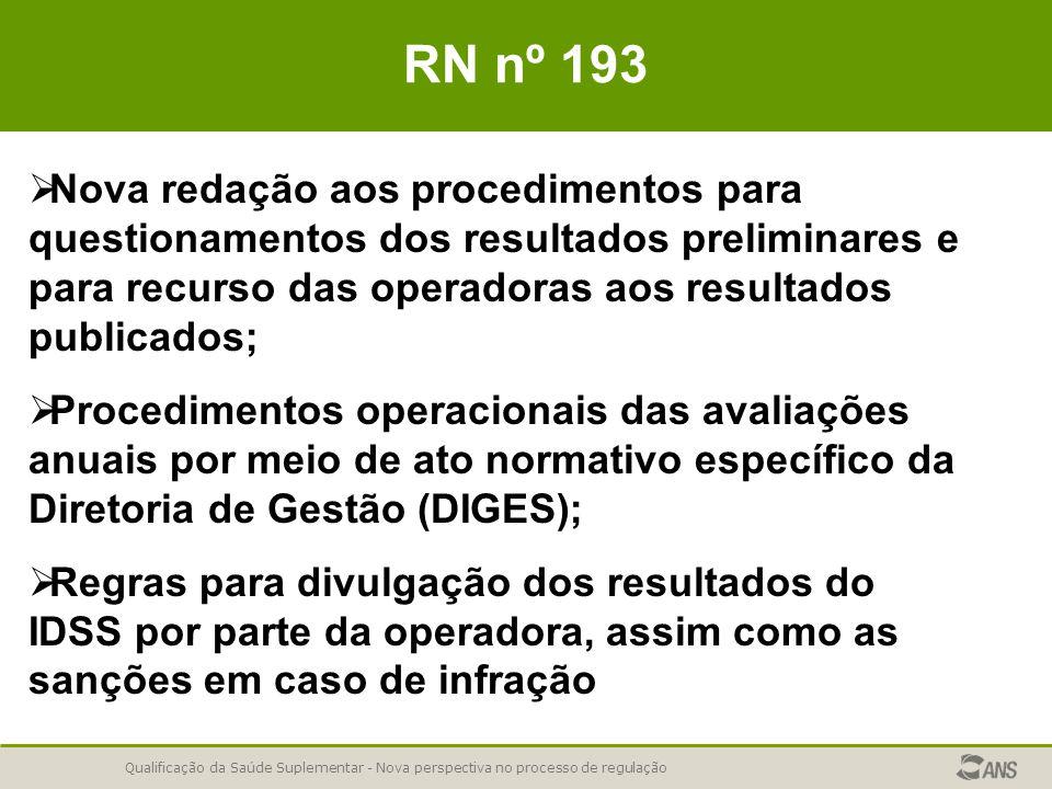 Qualificação da Saúde Suplementar - Nova perspectiva no processo de regulação RN nº 193   Nova redação aos procedimentos para questionamentos dos resultados preliminares e para recurso das operadoras aos resultados publicados;   Procedimentos operacionais das avaliações anuais por meio de ato normativo específico da Diretoria de Gestão (DIGES);   Regras para divulgação dos resultados do IDSS por parte da operadora, assim como as sanções em caso de infração