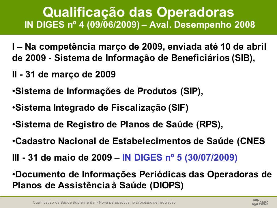 Qualificação da Saúde Suplementar - Nova perspectiva no processo de regulação Qualificação das Operadoras IN DIGES nº 4 (09/06/2009) – Aval. Desempenh