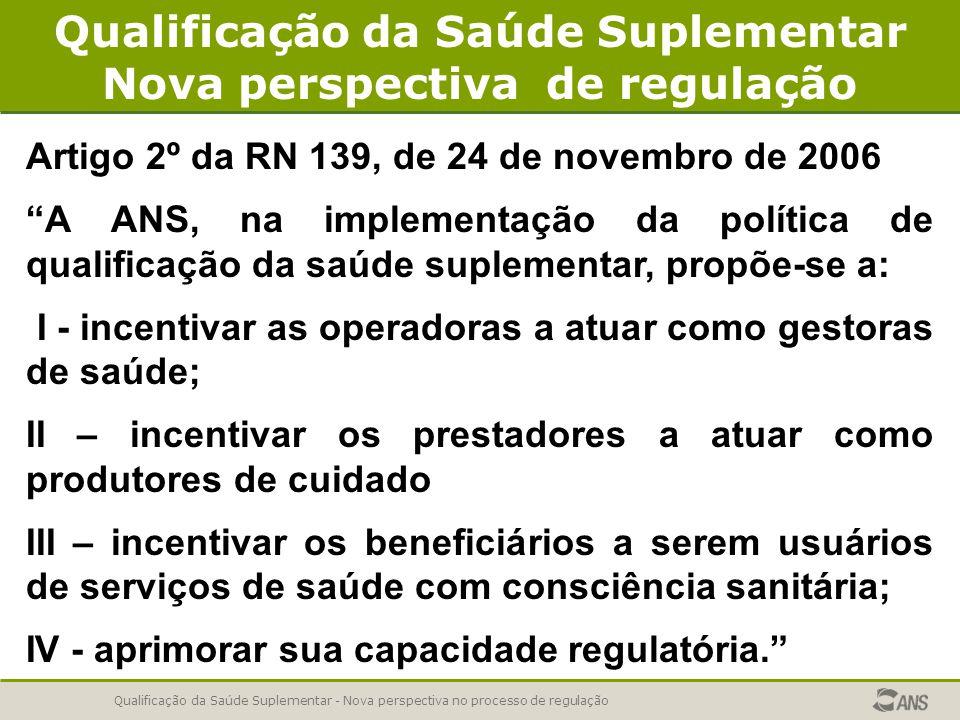 Qualificação da Saúde Suplementar - Nova perspectiva no processo de regulação Qualificação da Saúde Suplementar Nova perspectiva de regulação Artigo 2