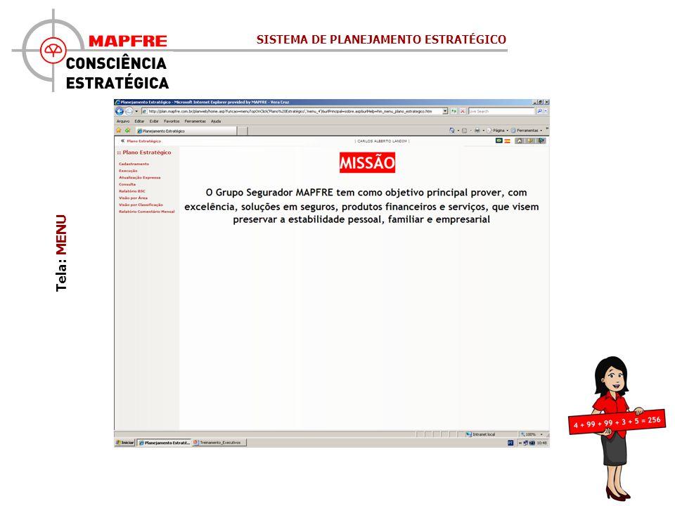 Tela: MENU SISTEMA DE PLANEJAMENTO ESTRATÉGICO
